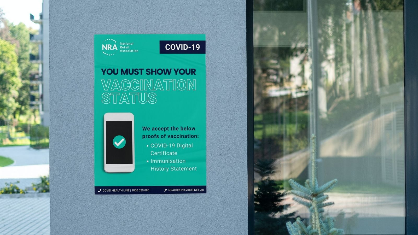 COVID safety posters on wall